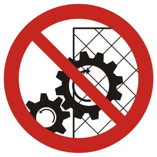 Zakaz zdejmowania osłon podczas pracy urządzenia - znak bhp zakazujący - GB031