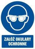 Załóż okulary ochronne - znak bhp nakazujący - GL003 - Czynniki uciążliwe i szkodliwe w miejscu pracy: przykłady, sposoby ochrony i BHP