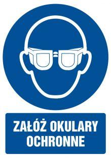 Załóż okulary ochronne - znak bhp nakazujący - GL003