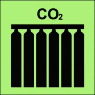 Zamocowana bateria gaśnicza (CO2-dwutlenek węgla) - znak morski - FI076