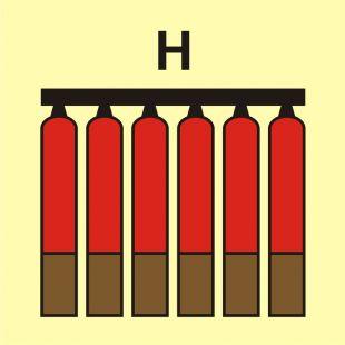 Zamocowana bateria gaśnicza (H-gaz) - znak morski - FI079