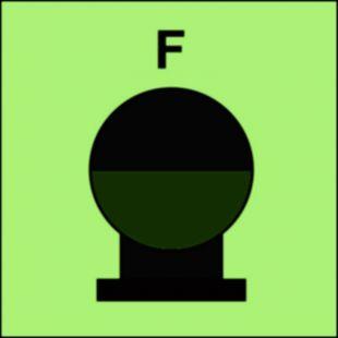 Zamocowana butla gaśnicza umieszczona w zabezp. (F-piana) - znak morski - FI084