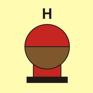 Zamocowana butla gaśnicza umieszczona w zabezp. (H-gaz) - znak morski - FI085
