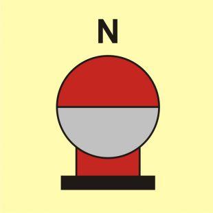 Zamocowana butla gaśnicza umieszczona w zabezp. (N-azot) - znak morski - FI083