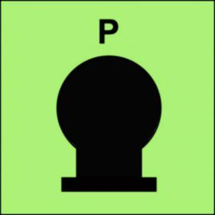 Zamocowana butla gaśnicza umieszczona w zabezp. (P-proszek) - znak morski - FI086