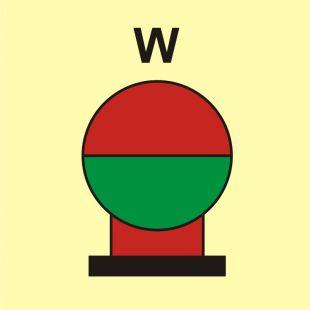 Zamocowana butla gaśnicza umieszczona w zabezp. (W-woda) - znak morski - FI087