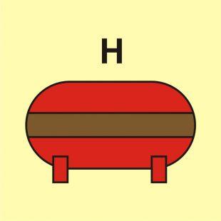 Zamocowana instalacja gaśnicza (H-gaz) - znak morski - FI073