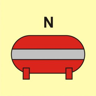 Zamocowana instalacja gaśnicza (N-azot) - znak morski - FI071