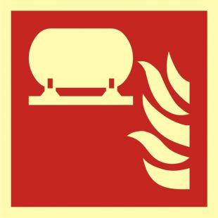 Zamocowana instalacja gaśnicza - znak przeciwpożarowy ppoż - BAF012