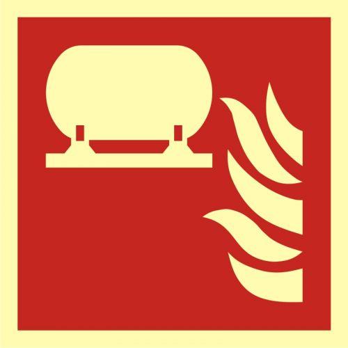 Zamocowana instalacja gaśnicza - znak przeciwpożarowy ppoż - BAF012 - Znaki bezpieczeństwa – wymagania konstrukcyjne i normy