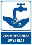 Zanim wyjdziesz umyj ręce - znak informacyjny - RB018 - Warunki higienicznosanitarne w miejscu pracy