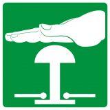 Zatrzymanie awaryjne - znak bhp informujący - GG005 - Znaki BHP w miejscu pracy (norma PN-93/N-01256/03)