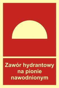 Zawór hydrantowy na pionie nawodnionym - znak przeciwpożarowy ppoż - BC019