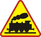 Znak A-10 Przejazd kolejowy bez zapór - drogowy ostrzegawczy - Znaki ostrzegawcze – znaki drogowe, cz. I