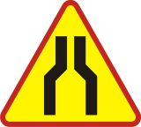 Znak A-12a Zwężenie jezdni dwustronne - drogowy ostrzegawczy - Sygnalizacja przenośna