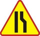 Znak A-12b Zwężenie jezdni prawostronne - drogowy ostrzegawczy - Sygnalizacja przenośna