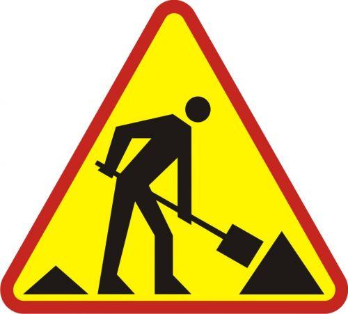 Znak A-14 Roboty na drodze - drogowy ostrzegawczy - Roboty prowadzone w poboczu i w pasie dzielącym