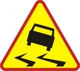 Znak A-15 Śliska jezdnia - drogowy ostrzegawczy - Odległość znaków ostrzegawczych od miejsc niebezpiecznych