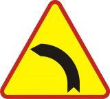 Znak A-2 Niebezpieczny zakręt w lewo - drogowy ostrzegawczy - Znaki drogowe na drodze leśnej