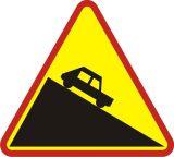 Znak A-22 Niebezpieczny zjazd - drogowy ostrzegawczy - Znaki ostrzegawcze – znaki drogowe, cz. I