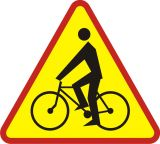 Znak A-24 Rowerzyści - drogowy ostrzegawczy - Znaki ostrzegawcze – znaki drogowe, cz. I