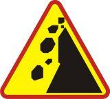Znak A-25 Spadające odłamki skalne - drogowy ostrzegawczy - Znaki ostrzegawcze – znaki drogowe, cz. I