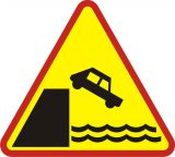 Znak A-27 Nabrzeże lub brzeg rzeki - drogowy ostrzegawczy - Znaki ostrzegawcze – znaki drogowe, cz. I