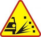 Znak A-28 Sypki żwir - drogowy ostrzegawczy