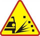 Znak A-28 Sypki żwir - drogowy ostrzegawczy - Znaki ostrzegawcze – znaki drogowe, cz. I