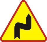 Znak A-3 Niebezpieczne zakręty-pierwszy w prawo - drogowy ostrzegawczy - Odległość znaków ostrzegawczych od miejsc niebezpiecznych