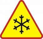 Znak A-32 Oszronienie jezdni - drogowy ostrzegawczy