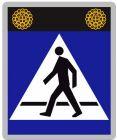 Znak aktywny drogowy D-6 D-6a D-6b przejście dla pieszych, rowerzystów - fi-100 Sign Flash