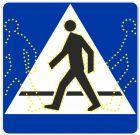 Znak aktywny drogowy D-6 D-6a D-6b przejście dla pieszych, rowerzystów - kroczący ludzik