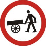 Znak B-12 Zakaz wjazdu wózków ręcznych - drogowy zakazu - Zakaz wjazdu dla różnych pojazdów