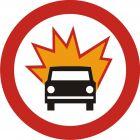 Znak B-13 Zakaz wjazdu pojazdów z towarami wybuchowymi lub łatwo zapalnymi. - drogowy zakazu
