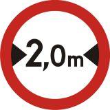 Znak B-15 Zakaz wjazdu pojazdów o szerokości ponad ... m - drogowy zakazu - Urządzenia bramowe