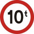 Znak B-18 Zakaz wjazdu pojazdów o rzeczywistej masie całk. ponad ... t - drogowy zakazu