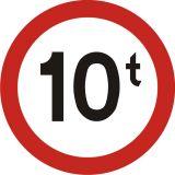 Znak B-18 Zakaz wjazdu pojazdów o rzeczywistej masie całk. ponad ... t - drogowy zakazu - Oznakowanie objazdów