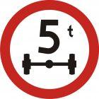 Znak B-19 Zakaz wjazdu pojazdów o nacisku osi większym niż ...t - drogowy zakazu