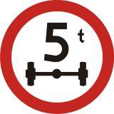 Znak B-19 Zakaz wjazdu pojazdów o nacisku osi większym niż ...t - drogowy zakazu - Oznakowanie objazdów