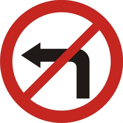 Znak B-21 Zakaz skręcania w lewo - drogowy zakazu - Zakaz skręcania w lewo i w prawo