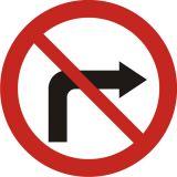 Znak B-22 Zakaz skręcania w prawo - drogowy zakazu - Zakaz ruchu w obu kierunkach – znak B-1