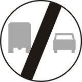 Znak B-28 Koniec zakazu wyprzedzania przez samochody ciężarowe - drogowy zakazu - Zakaz wyprzedzania – znak B-25 i B-26