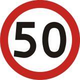 Znak B-33 Ograniczenie prędkości - drogowy zakazu - Znaki drogowe na drodze leśnej