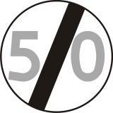 Znak B-34 Koniec ograniczenia prędkości - drogowy zakazu - Znaki zakazu – znaki drogowe, cz. II