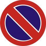 Znak B-35 Zakaz postoju - drogowy zakazu - Roboty prowadzone w chodniku – oznakowanie