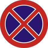 Znak B-36 Zakaz zatrzymywania się - drogowy zakazu - Roboty prowadzone w chodniku – oznakowanie