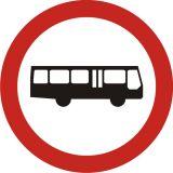 Znak B-3a Zakaz wjazdu autobusów - drogowy zakazu - Zakaz wjazdu dla różnych pojazdów