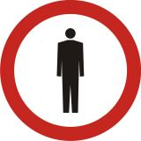 Znak B-41 Zakaz ruchu pieszych - drogowy zakazu - Ruch pieszych wzdłuż drogi