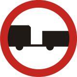 Znak B-7 Zakaz wjazdu pojazdów silnikowych z przyczepą - drogowy zakazu - Zakaz wjazdu dla różnych pojazdów